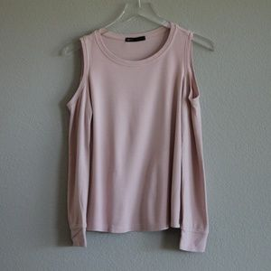 GIBSON | Cold Shoulder Blush Pink Sweater XS
